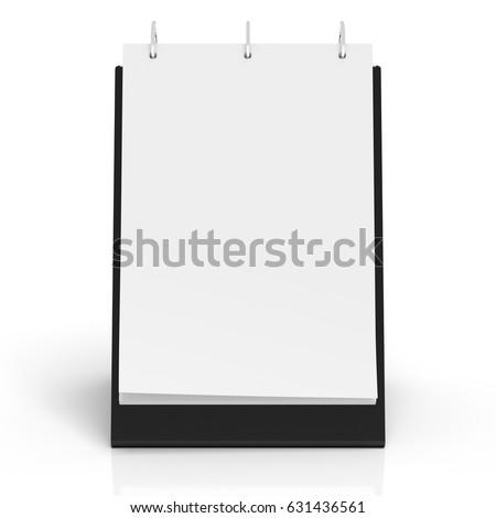 Blank portrait table top flip chart easel binder or calendar mockup standing on white background isolated  3d illustration