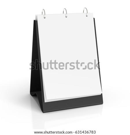 Blank portrait table top flip chart easel binder or calendar mockup standing on white background isolated . 3d illustration