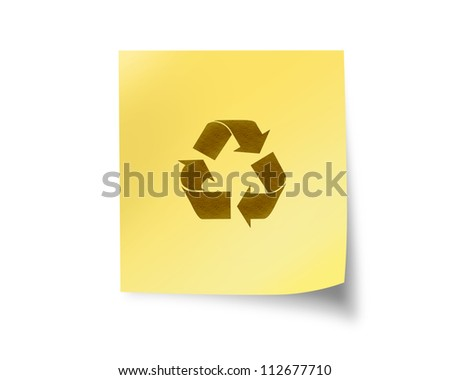 blank post it with recycle sign isolated on white background