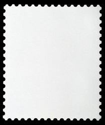Blank Postage Stamp Framed by Black Border