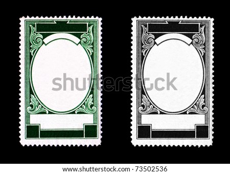 blank postage stamp framed in scrolls with ornate design