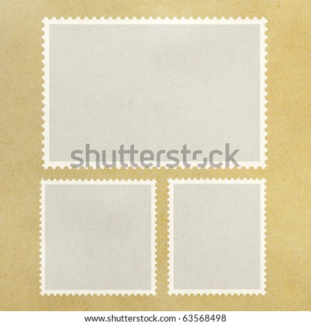 Blank Postage Stamp Framed on Brown Paper.