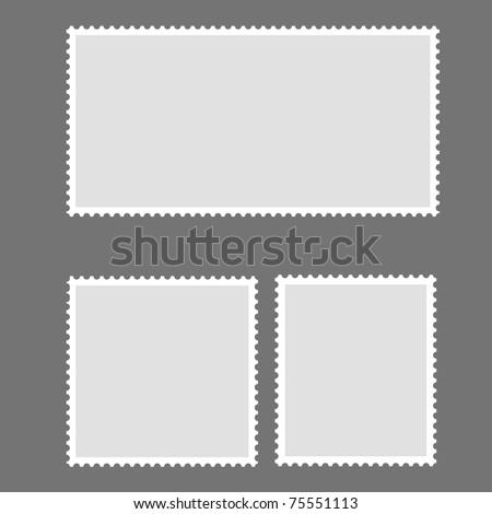 Blank Postage Stamp Framed on gray