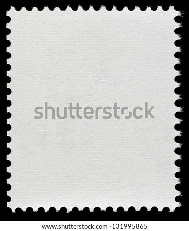Blank Postage Stamp Isolated on Black Background #131995865