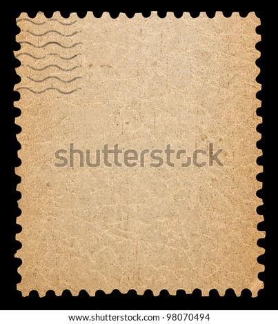 Blank postage stamp isolated with clipping path.