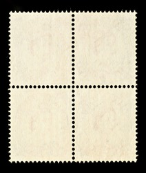 Blank Postage Stamps Block of Four Framed by Black Border