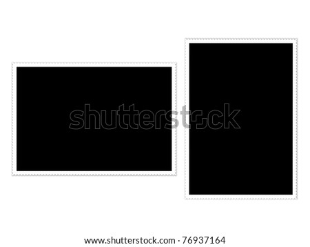 blank postage stamps isolated on white background.