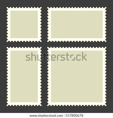 Blank Postage Stamps Set on Dark Background. Illustration