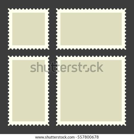 Blank Postage Stamps Set on Dark Background. Illustration