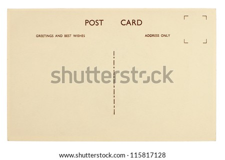 Blank Postcard Back Isolated on White