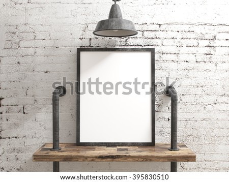 Blank Poster Frame on rustic wood shelve with white brick industrial background