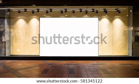 Blank poster in front of store,Blank billboard decoration backdrop for advertising store information. #581345122