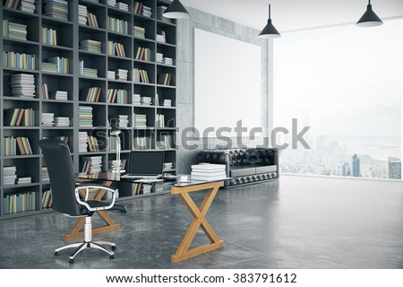 Blank poster in loft private office with book case, leather sofa, glassy table and big window, mock up, 3D render