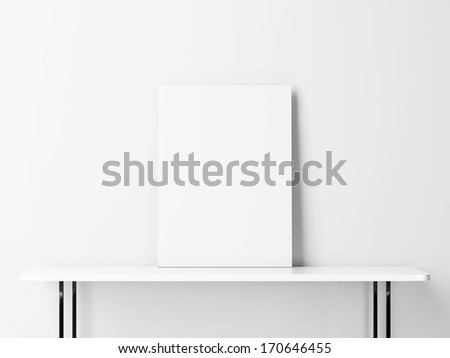 Blank poster on a table