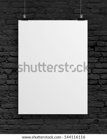 blank poster on brick wall background