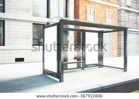 Blank poster on the wall of bus stop on city street, mock up 3D Render #367922600