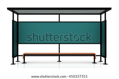 Blank poster on the wall of bus stop on white background, mock up 3D Render