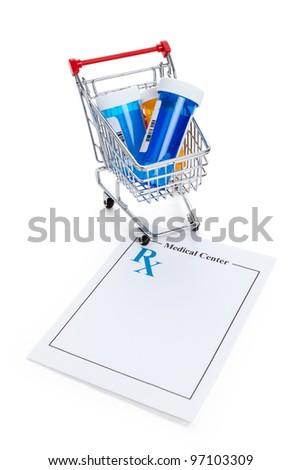 Blank Prescription and Shopping cart, concept for Healthcare And Medicine