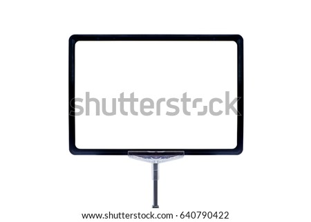 Blank price board label isolated on white background #640790422