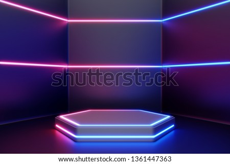 Blank product stand with line neon lights. 3d rendering