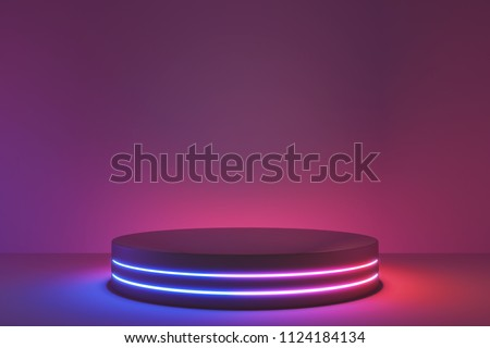 Blank product stand with neon lights on dark room background. 3d rendering