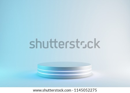 Blank product stand with neon lights on pastel blue and white background. 3d rendering