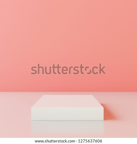 Blank product stand with wall color of the year 2019, Living coral. 3d rendering