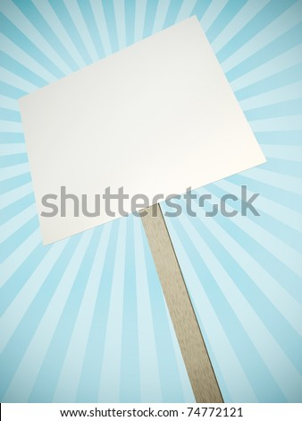 Blank protest banner with rays in the background. 3D render