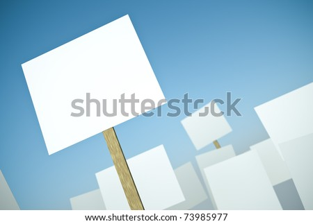 Blank protest banners against blue sky. 3D render.
