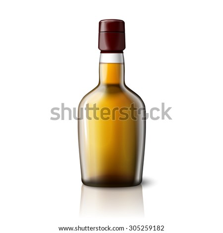 Blank realistic whiskey bottle isolated on grey background with place for your design and branding. #305259182