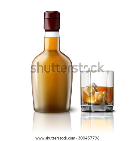 Blank realistic whiskey bottle with glass of whiskey and ice, isolated on grey background with place for your design and branding.  #300457796