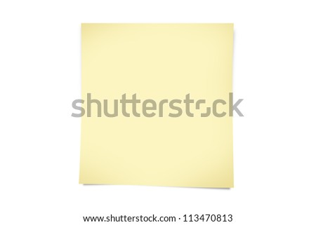 Blank, realistic, yellow sticky note with shadow, isolated on white background.