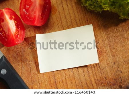 Blank Recipe Card (or Shopping List) with Ingredients