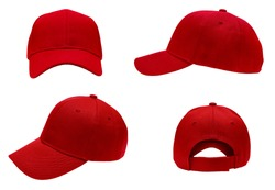 blank red baseball cap 4 view on white background