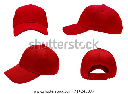 blank red baseball cap 4 view on white background - Shutterstock ID 714243097