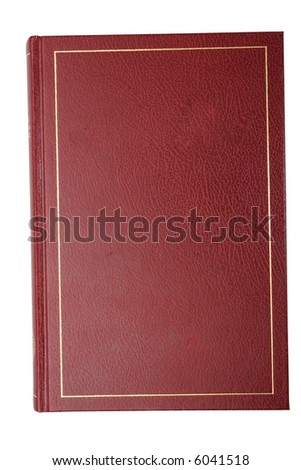 blank red book cover isolated on white with clipping path