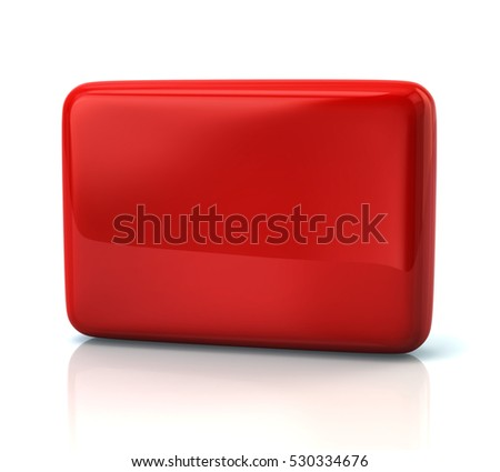 Blank red button 3d illustration isolated on white background