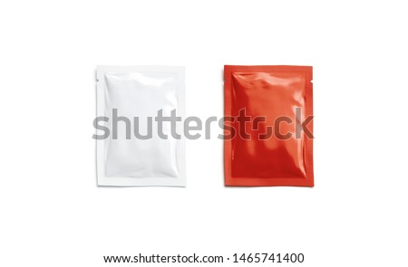 Blank red catsup and white sachet packet mockup, isolated, top view, 3d rendering. Empty tomato ketchup and mayonnaise pack mock up. Clear airtight disposable cosmetics or medication parcel template.