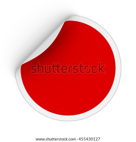 Blank Red Circle Sticker with Peeling Corner 3D Illustration #455430127