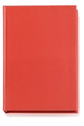 Blank red copybook template with elastic band and bookmark. A red leather book(diary, note) isolated white, top view. isolated on white background with clipping path.
