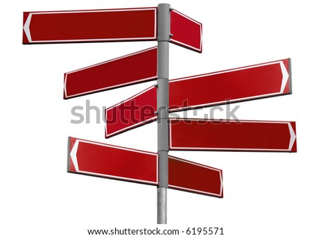 Blank red direction sign with 8 arrows (add your text) isolated on white