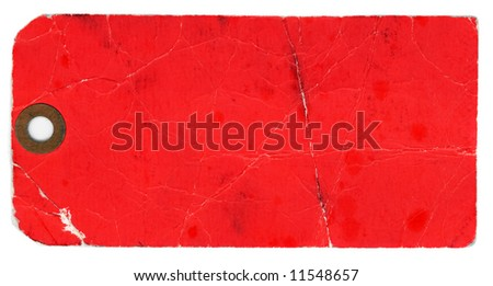 Blank, red, grungy, dirty, stained tag on a white background