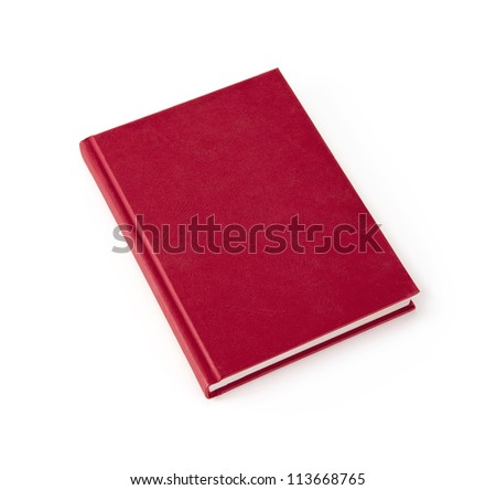 Blank red hardcover book isolated on white background with copy space