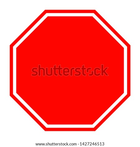 Blank red hexagon label traffic road sign isolated on white background #1427246513
