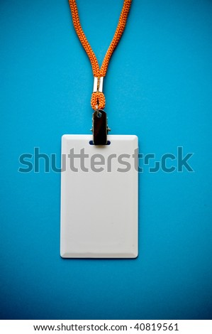 Blank red ID card / badge with copy space, isolated on white. - stock photo