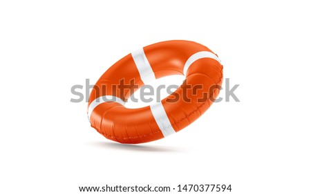Blank red lifebuoy no gravity mock up isolated, 3d rendering. Empty flotation ring mockup. Clear round lifesaver for flotation on water. Sos inflatable circular template. Stockfoto ©