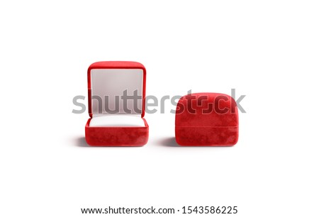 Blank red opened and closed ring box mockup, front view, 3d rendering. Empty gules jewel case mock up isolated. Clear precious present for valentine day or marriage mokcup template.