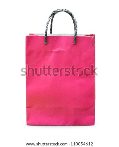 Blank red paper bag isolated on white background