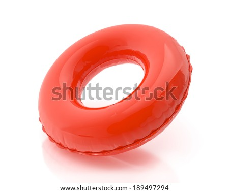 blank red pool ring isolated on white background ストックフォト ©