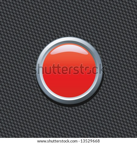 Blank red push button on carbon fiber background. Write your own text! - stock photo